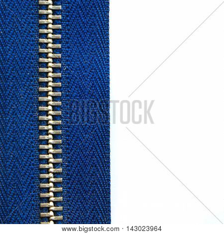 Close up zip isolated on white background