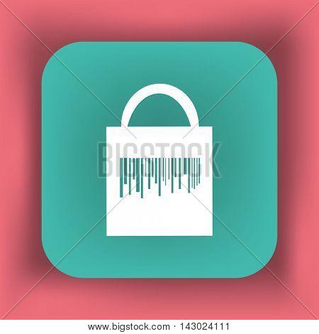 Flat icon. Shopping bag barcode.