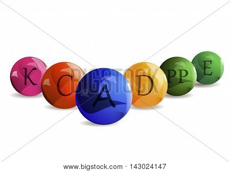 Colorful set of the colored bubble vitamins