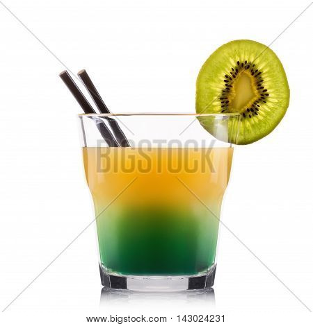Exotic green cocktail in old fashioned glass isolated on white background.