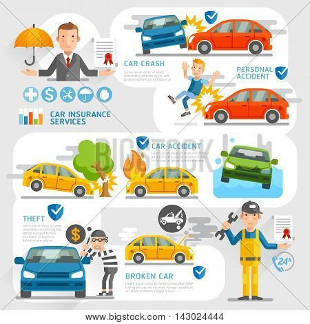 Car insurance business character and icons template. Vector illustration. Can be used for workflow layout banner diagram number options web design timeline infographics.