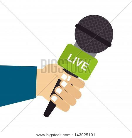 live microphone report press journalism reporter hand vector illustration isolated