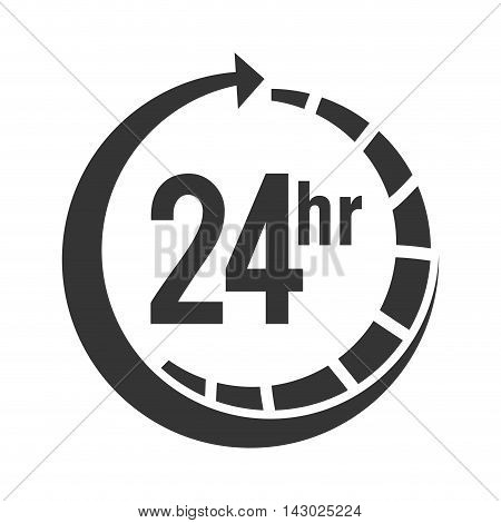 24 hour service open strippes arrow time center call vector illustration isolated