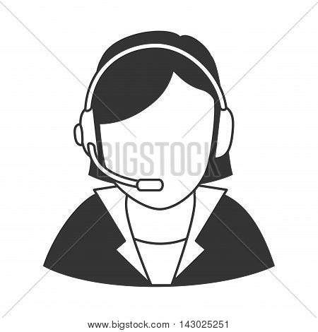 headset person call operator reception assistant support communication service vector illustration isolated