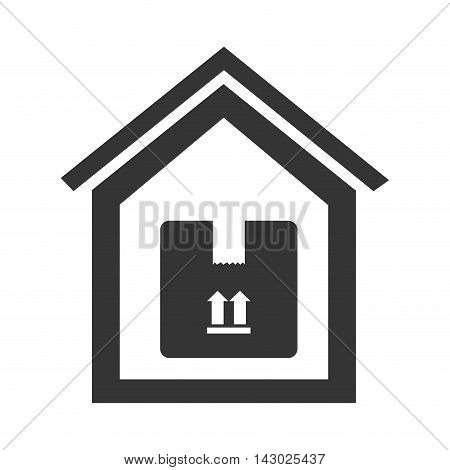 box house delivery arrow up receive pakage shipping vector illustration isolated