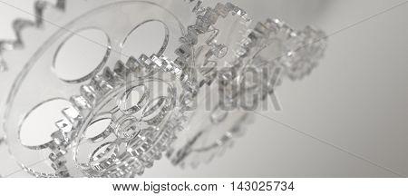 Machine glas gear mechanism background. 3D rendering
