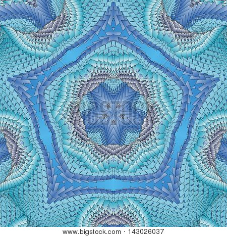 Kaleidoscopic blue pattern. The image is computer graphics created using various programs.
