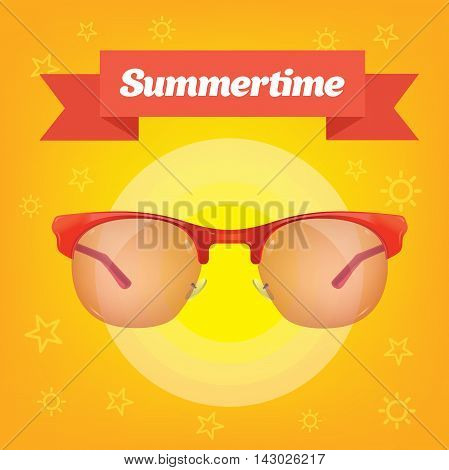 Summer realistic sun protection sunglass on yellow background with red ribbon