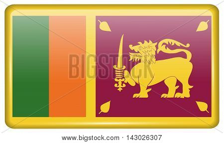 Flags Sri Lanka In The Form Of A Magnet On Refrigerator With Reflections Light. Vector