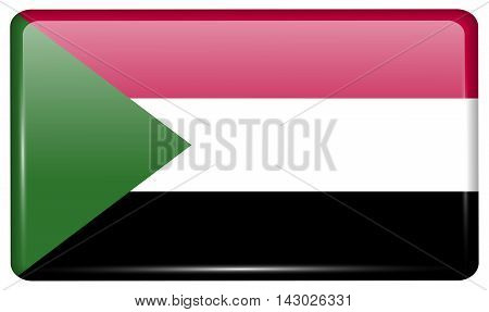 Flags Sudan In The Form Of A Magnet On Refrigerator With Reflections Light. Vector