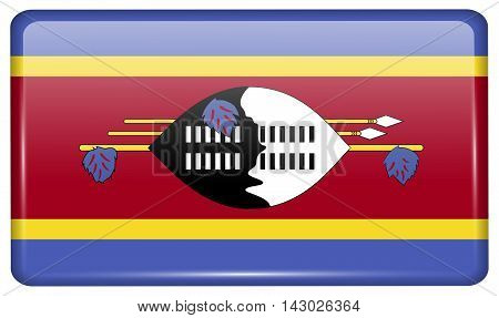Flags Swaziland In The Form Of A Magnet On Refrigerator With Reflections Light. Vector