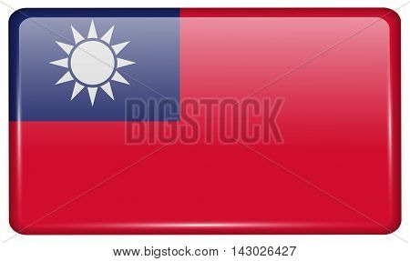 Flags Taiwan In The Form Of A Magnet On Refrigerator With Reflections Light. Vector