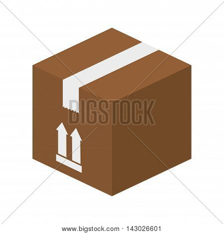 box packing top arrow label package cube closed delivery vector illustration isolated