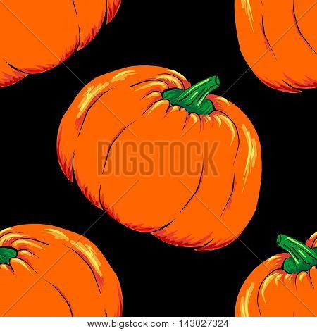 Halloween jack-o-lantern orange pumpkin vegetable seamless pattern background texture vector