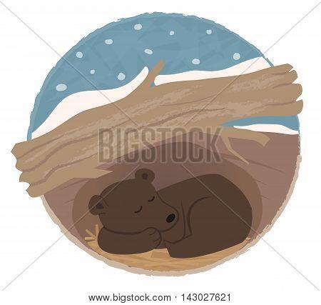 Clip art of a bear sleeping in his den. Eps10