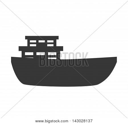 big ship boat delivery cargo front sea ocean vector illustration isolated