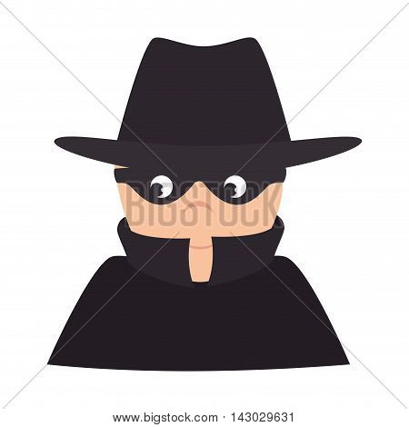 thief robber hat mask black clothes male man vector illustration isolated