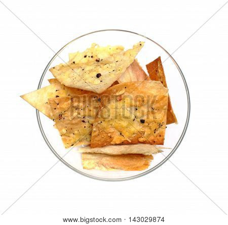 Nachos chips isolated - mexican cuisine top view