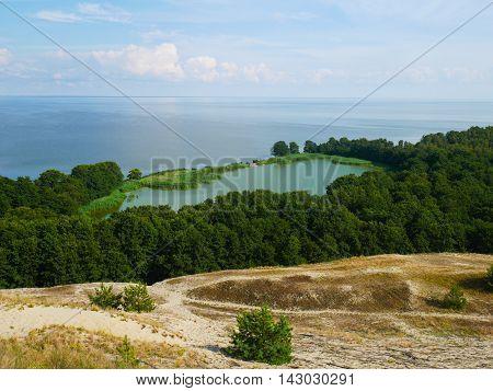 panoramic view of lake, sea and sand dune