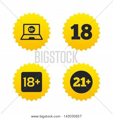 Adult content icons. Eighteen and twenty-one plus years sign symbols. Notebook website notice. Yellow stars labels with flat icons. Vector