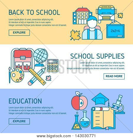 Education horizontal linear banners with back to school student supplies scientific disciplines isolated vector illustration