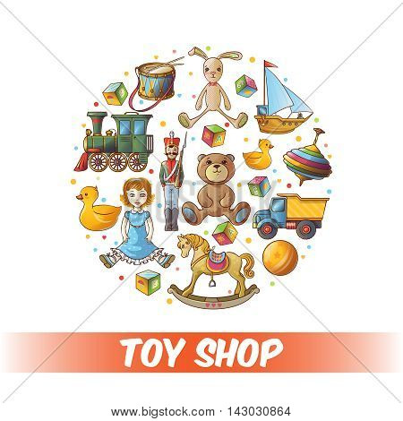 Kids toys round composition with isolated colored icon set combined in big circle vector illustration
