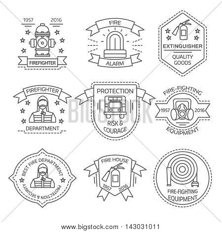 Firefighting linear emblems of departments and shops with man equipment ribbons stars isolated vector illustration