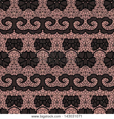 Black lace seamless pattern with flowers on beige background