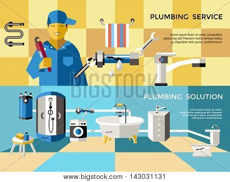 Two colored plumbing concept banner set with pluming service and solutions descriptions vector illustration