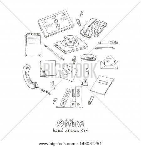 office tools doodles pen, pencils, book, paper vector illustration