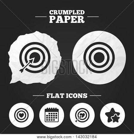 Crumpled paper speech bubble. Target aim icons. Darts board with heart and arrow signs symbols. Paper button. Vector