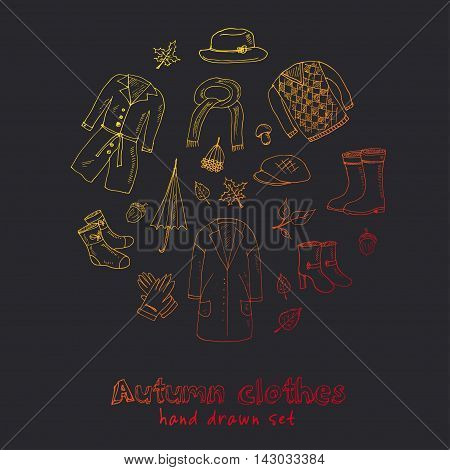 Autumn set. Set with oak leaves, shoes, clothing and umbrellas. Vector