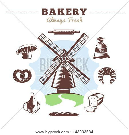 Vintage bakery element set mill and isolated bakery icon set around with title bakery always fresh vector illustration
