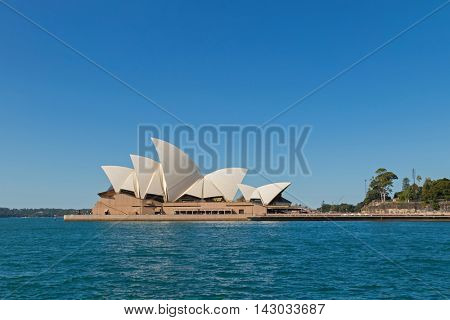 SYDNEY, AUSTRALIA - APRIL, 2016 : Famous Sydney Opera House, view from Overseas Passenger Terminal in Sydney, Australia on April 20, 2016. It is famous arts center, one of UNESCO World Heritage sites