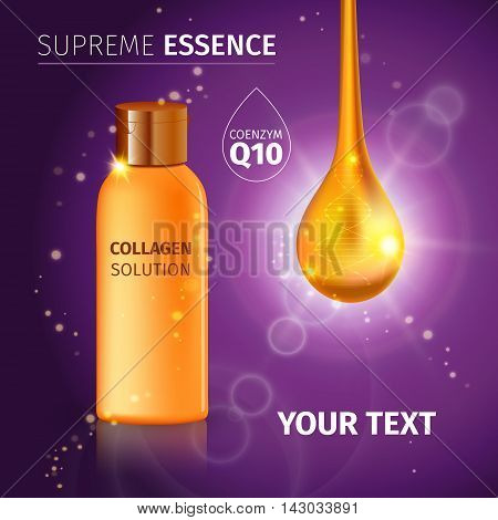 Gold realistic cosmetic tube poster with collagen solution cream or essence on purple background vector illustration