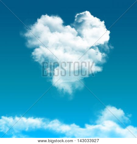 Realistic blue sky with cloud composition with cloud looks like heart at the center vector illustration