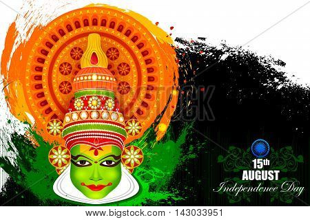 easy to edit vector illustration of Kathakali dancer face on Indian Independence Day celebration background