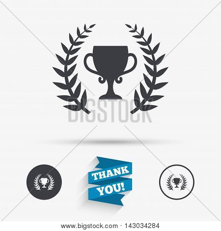 First place cup award sign icon. Prize for winner symbol. Laurel Wreath. Flat icons. Buttons with icons. Thank you ribbon. Vector