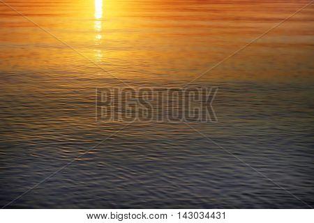 Beautiful bright sunrise sea water nature background