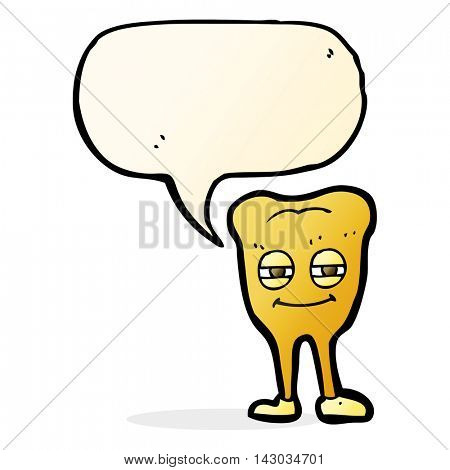 cartoon smiling tooth with speech bubble