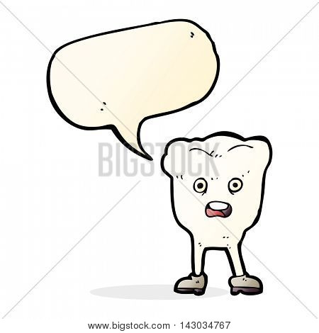 cartoon tooth looking afraid with speech bubble