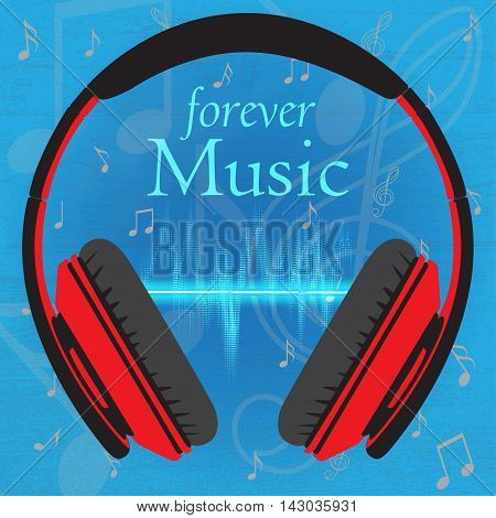 Musical background with headphone,text and beats, vector illustration