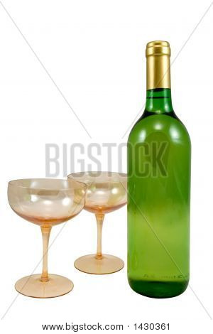 Bottle Of Wine And Two Glasses