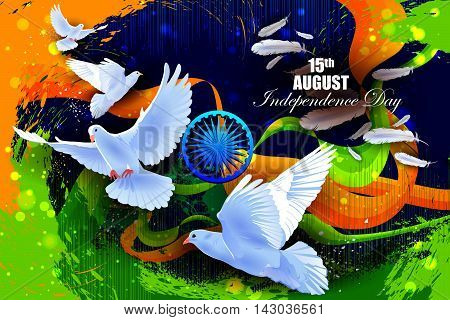 easy to edit vector illustration of Flying Dove on Indian Independence Day celebration background