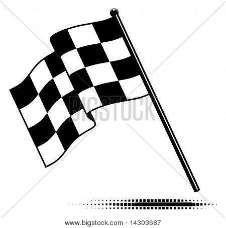 Vector checkered flag waving below the pole