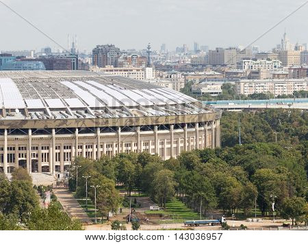 Moscow - August 11 2016: View from the observation deck on the Sparrow Hills at the Luzhniki Stadium August 11 2016 Moscow Russia