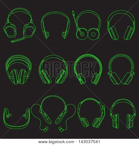 Headphone linear neon Silhouettes Set on the black background,  vector illustration, eps 10.