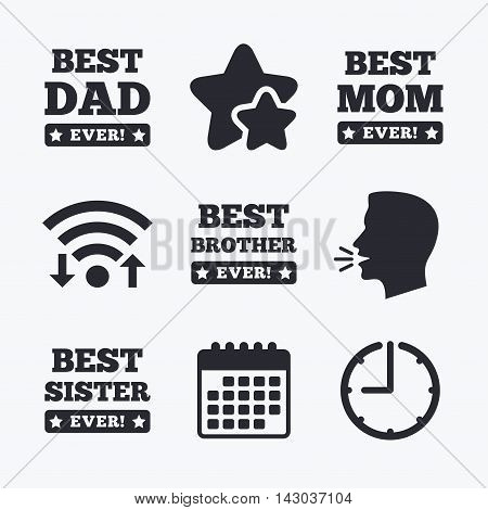 Best mom and dad, brother and sister icons. Award with exclamation symbols. Wifi internet, favorite stars, calendar and clock. Talking head. Vector