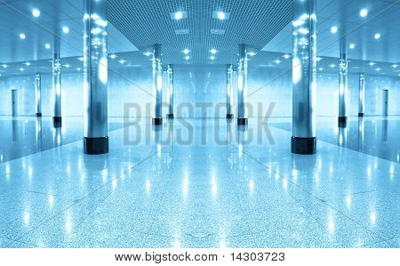 Symmetric Modern Hall Inside Office Center