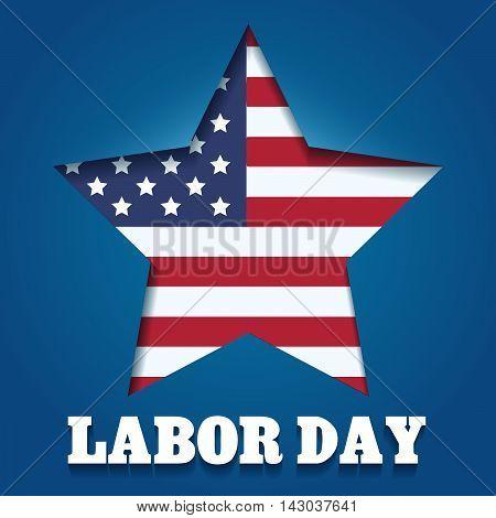 American Labor Day Emblem. American flag in star shape and wording Labor day.
